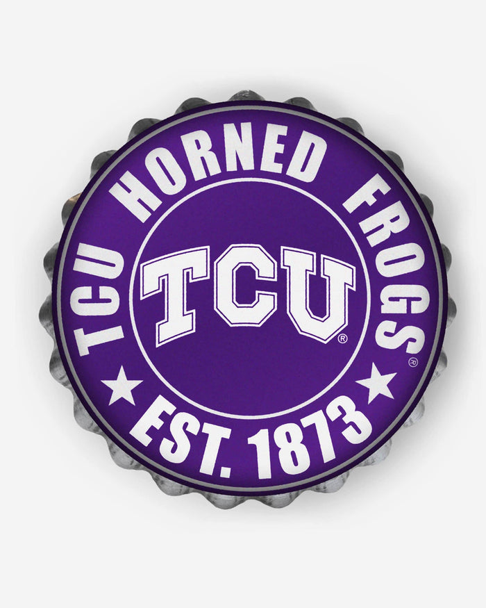 TCU Horned Frogs Bottle Cap Wall Sign FOCO - FOCO.com
