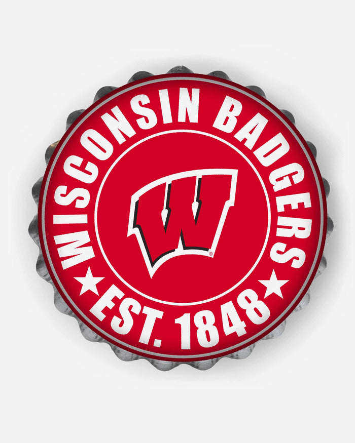 Wisconsin Badgers Bottle Cap Wall Sign FOCO - FOCO.com
