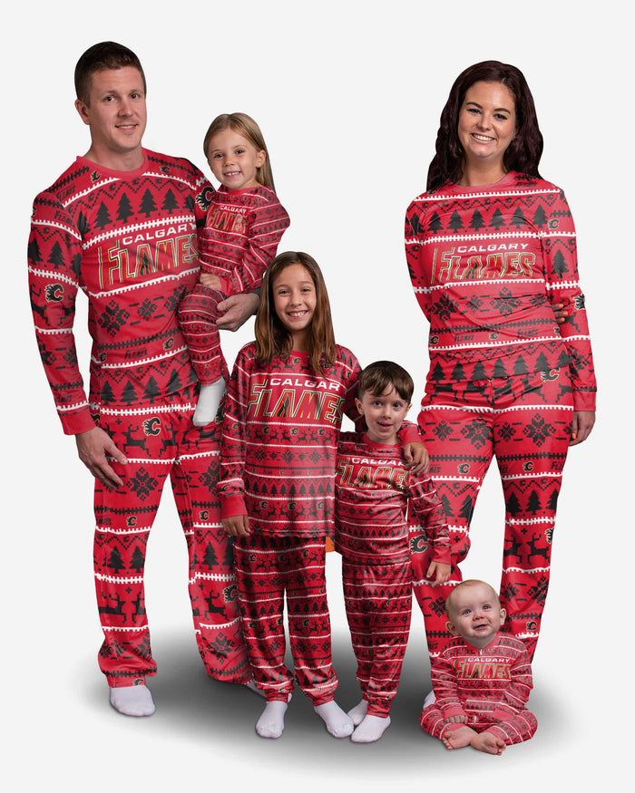 Calgary Flames Toddler Family Holiday Pajamas FOCO - FOCO.com