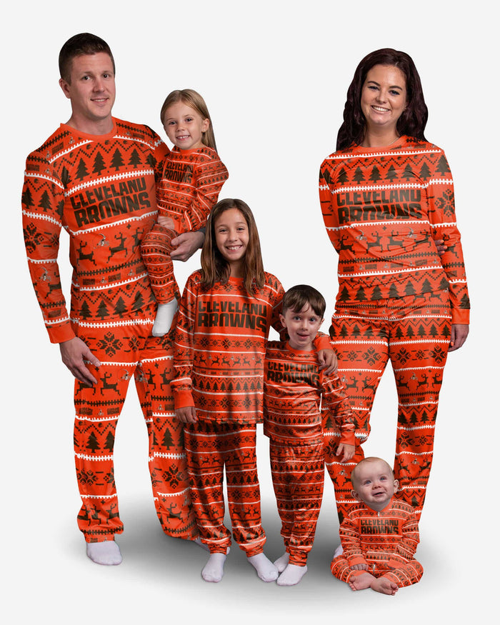 Cleveland Browns Youth Family Holiday Pajamas FOCO - FOCO.com