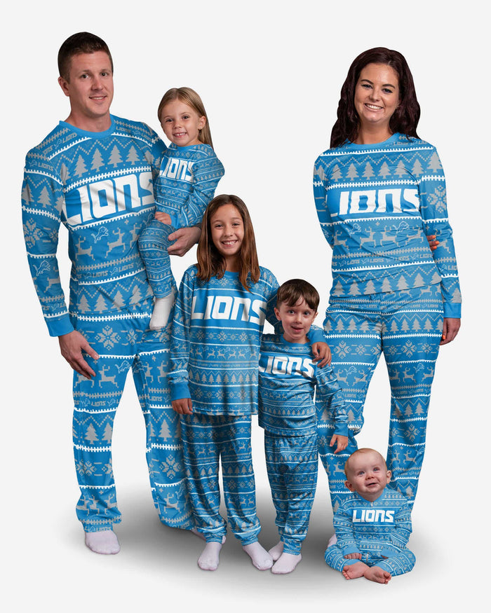 Detroit Lions Youth Family Holiday Pajamas FOCO - FOCO.com