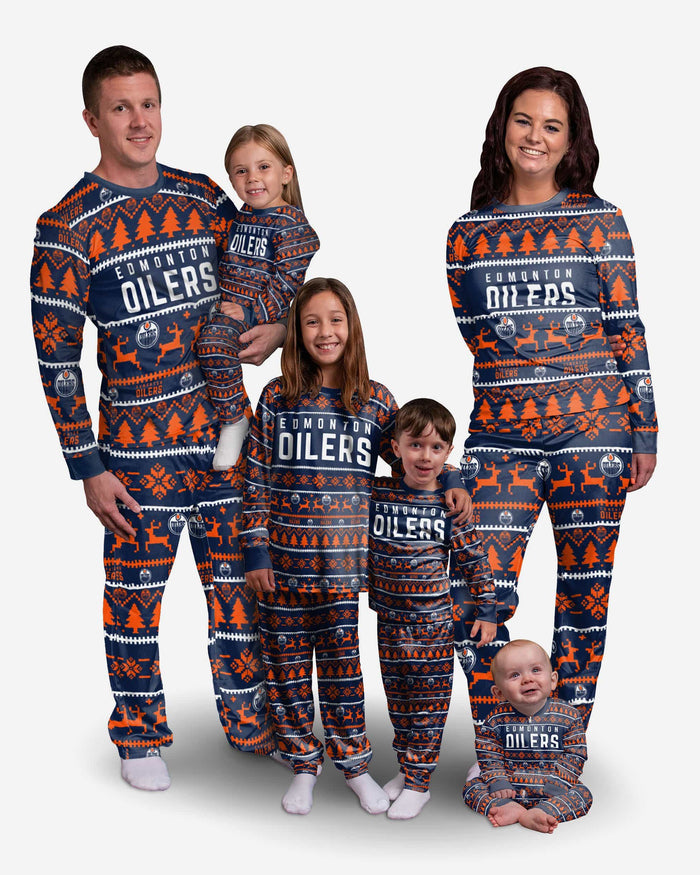 Edmonton Oilers Youth Family Holiday Pajamas FOCO - FOCO.com