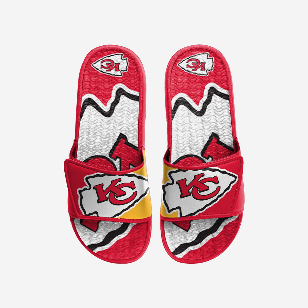 Kansas City Chiefs Colorblock Big Logo Gel Slide FOCO S - FOCO.com