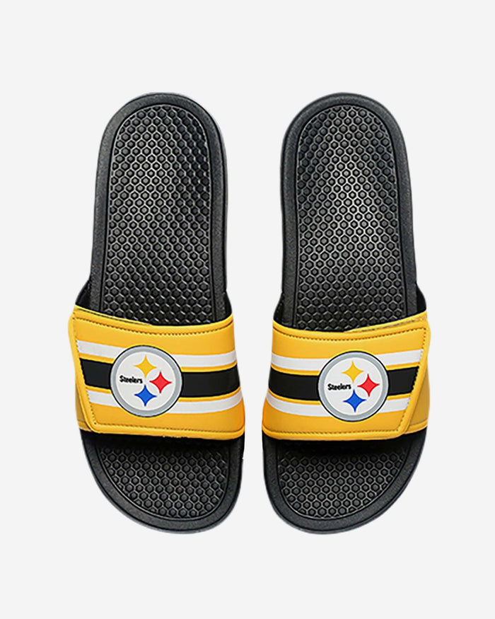 Pittsburgh Steelers Stripe Legacy Sport Slide FOCO M - FOCO.com