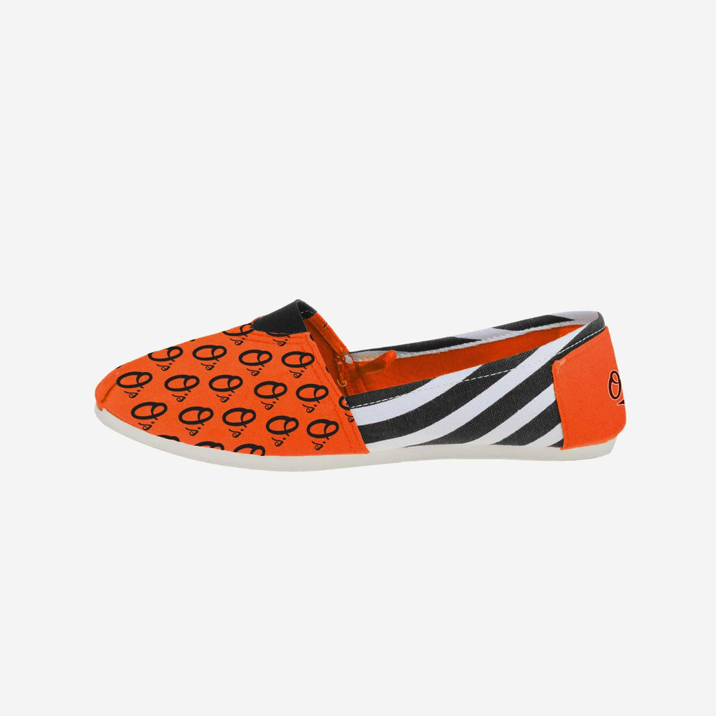 Baltimore Orioles Womens Stripe Canvas Shoe FOCO - FOCO.com
