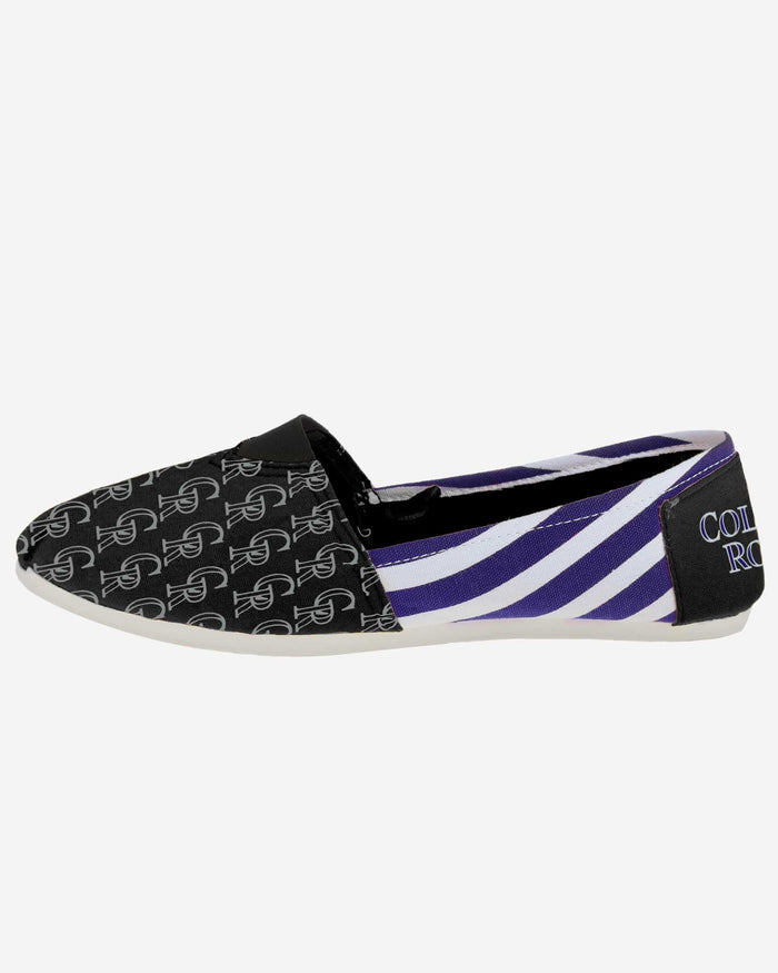 Colorado Rockies Womens Stripe Canvas Shoe FOCO - FOCO.com