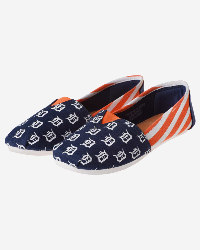 Detroit Tigers Womens Stripe Canvas Shoe FOCO - FOCO.com