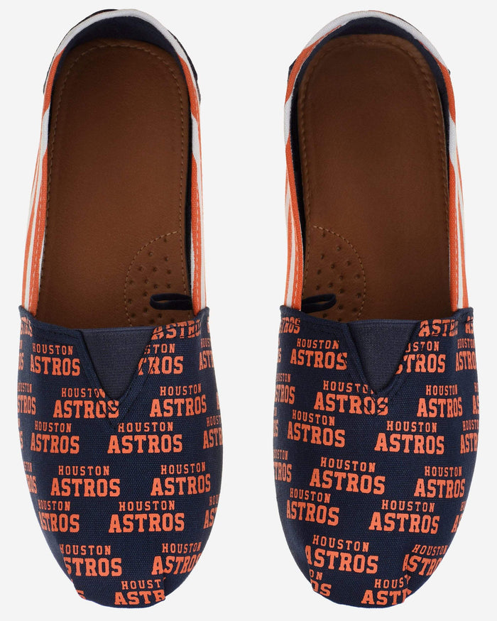 Houston Astros Womens Stripe Canvas Shoe FOCO - FOCO.com