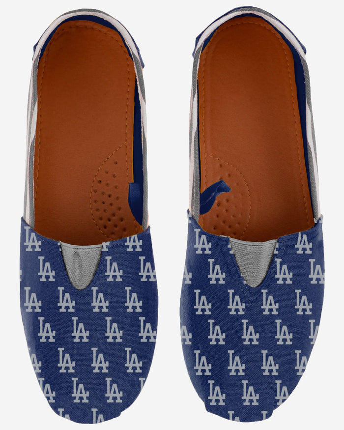 Los Angeles Dodgers Womens Stripe Canvas Shoe FOCO - FOCO.com