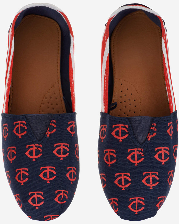 Minnesota Twins Womens Stripe Canvas Shoe FOCO - FOCO.com