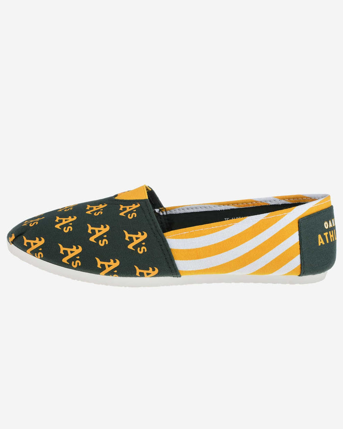 Oakland Athletics Womens Stripe Canvas Shoe FOCO - FOCO.com