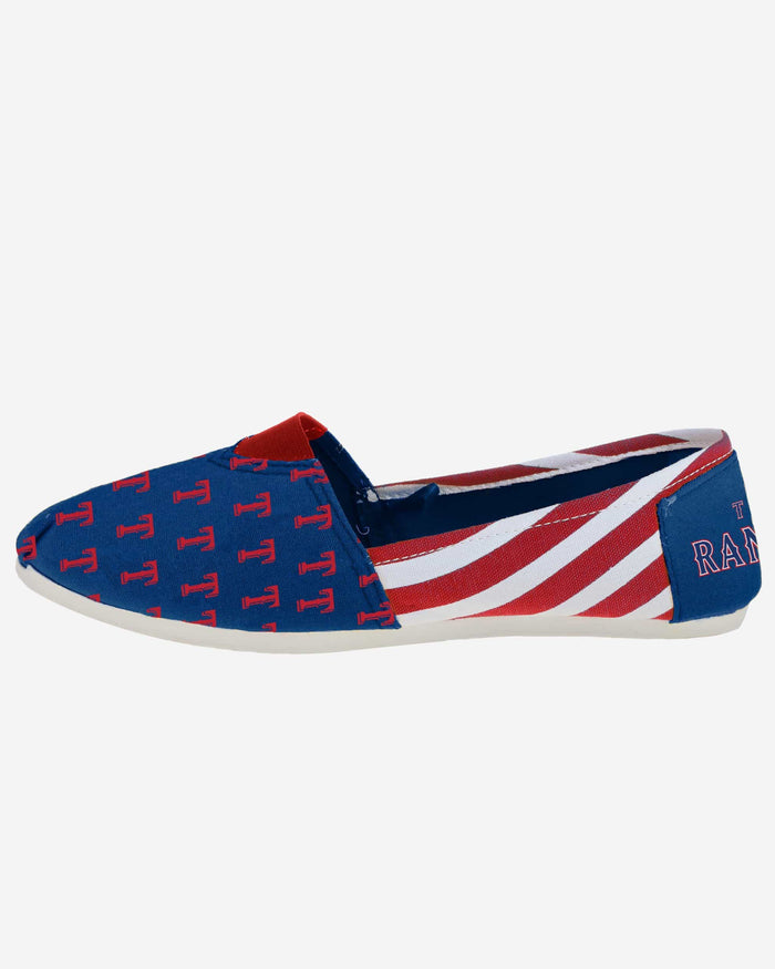 Texas Rangers Womens Stripe Canvas Shoe FOCO - FOCO.com