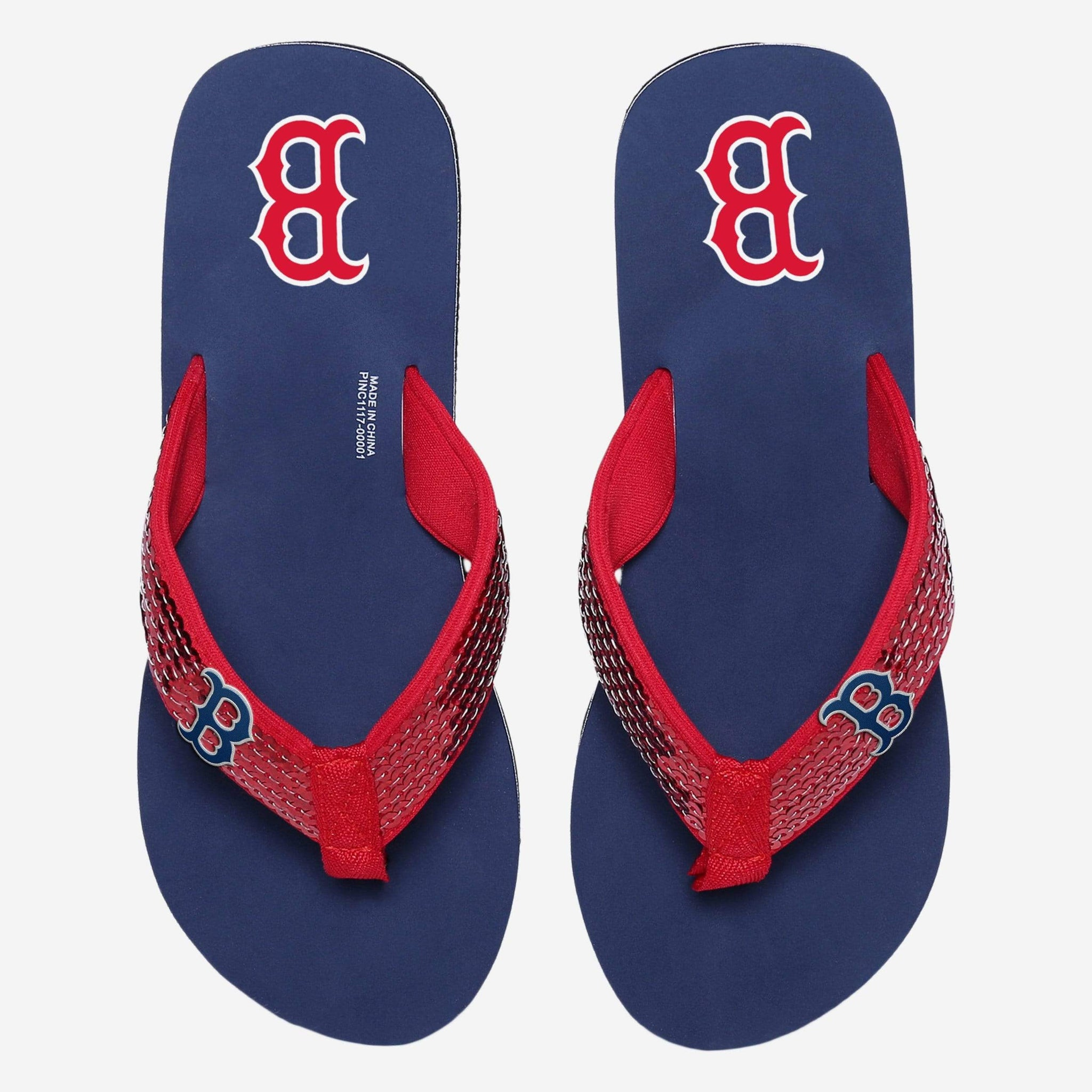 Boston Red Sox Womens Sequin Flip Flop FOCO - FOCO.com