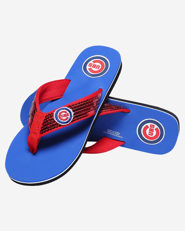 Chicago Cubs Womens Sequin Flip Flop FOCO - FOCO.com
