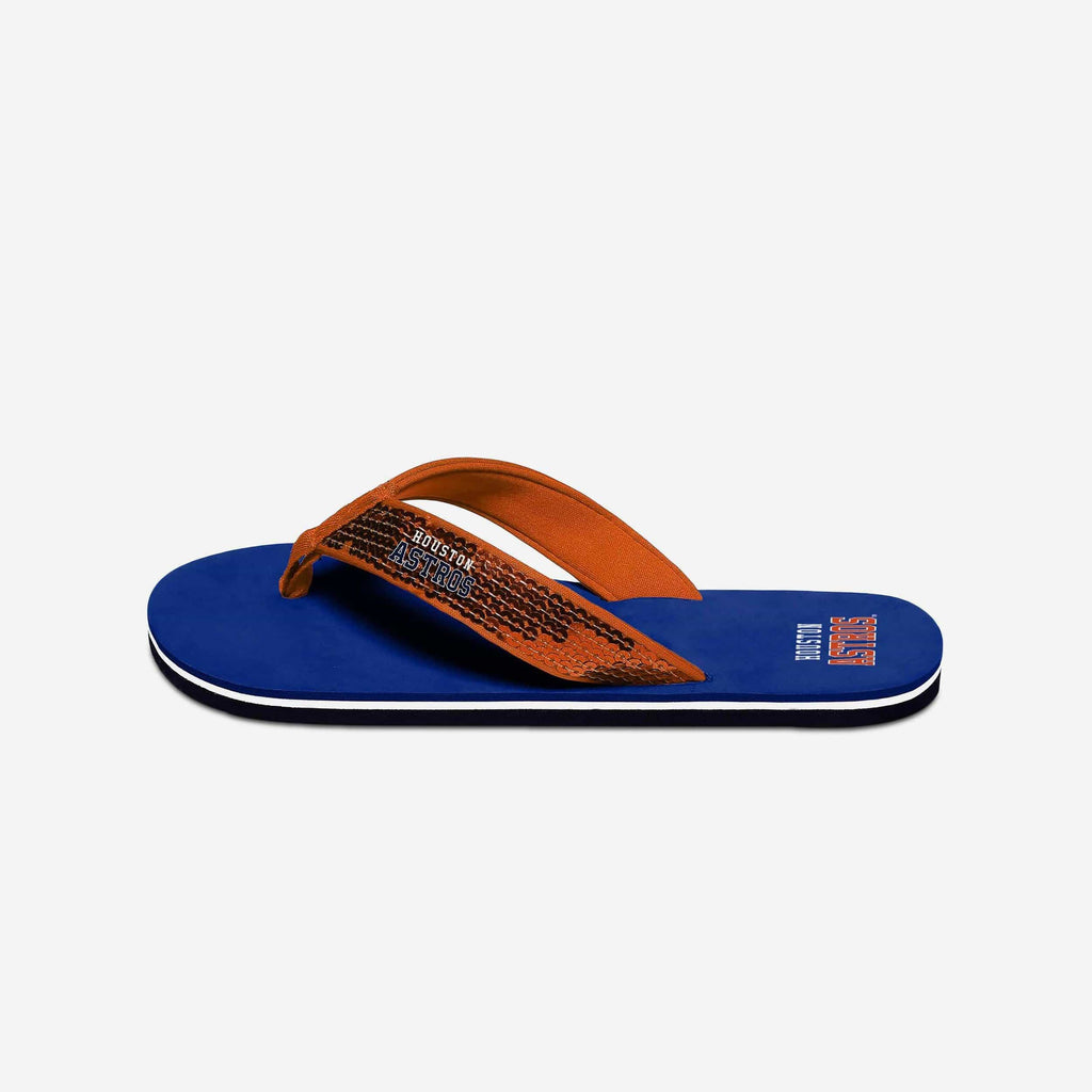 Houston Astros Womens Sequin Flip Flop FOCO - FOCO.com