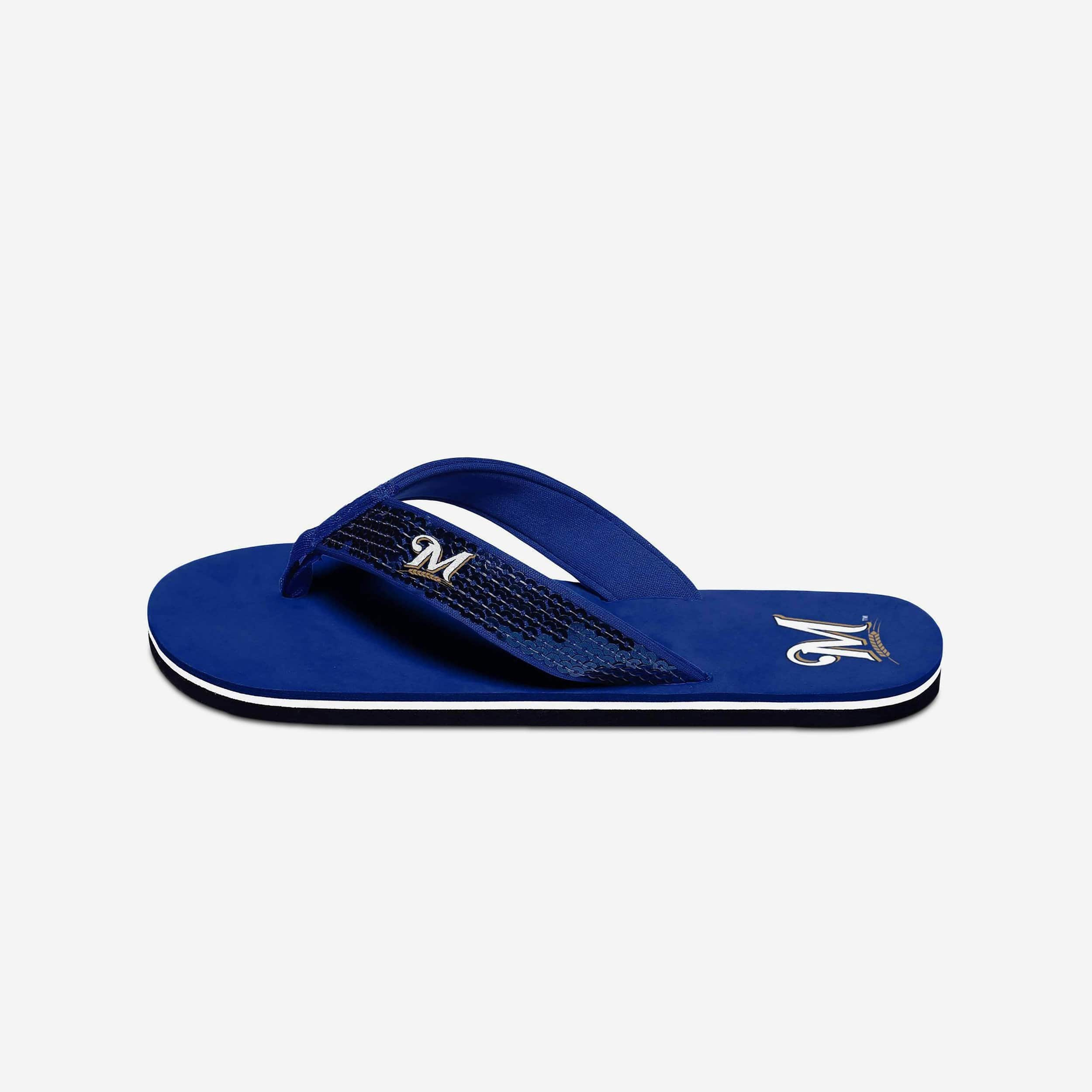 cbd0285f7 Milwaukee Brewers Womens Sequin Flip Flop FOCO.com