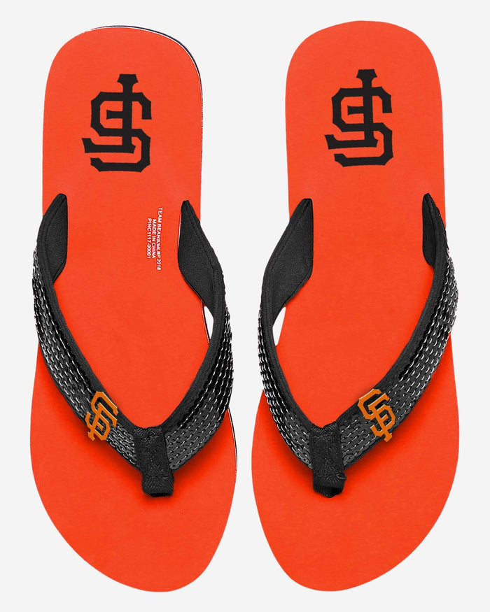 San Francisco Giants Womens Sequin Flip Flop FOCO - FOCO.com