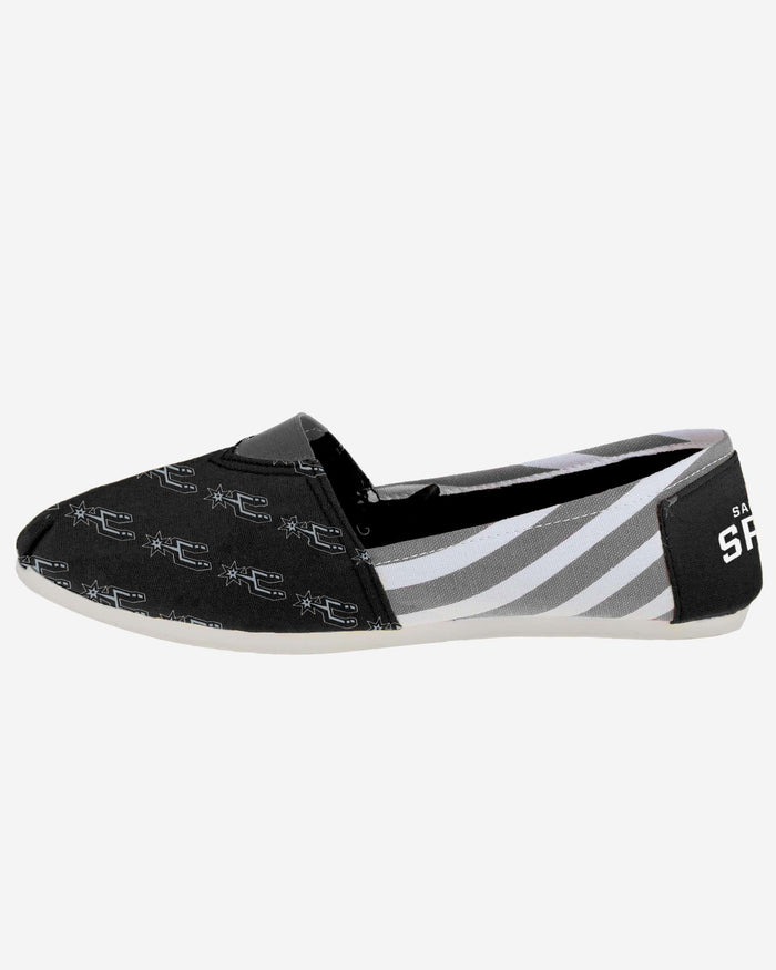San Antonio Spurs Womens Stripe Canvas Shoe FOCO - FOCO.com