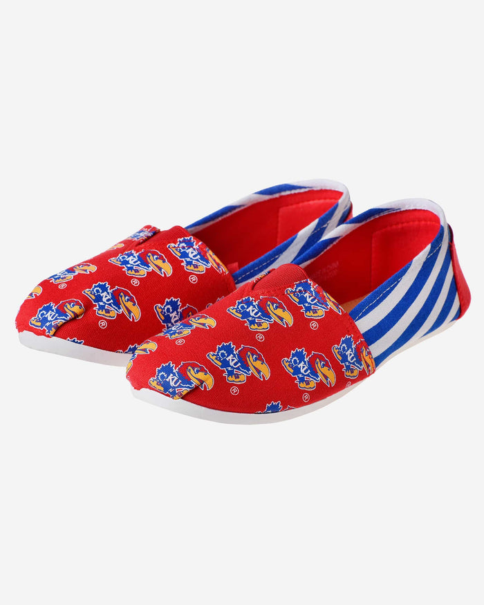 Kansas Jayhawks Womens Stripe Canvas Shoe FOCO - FOCO.com