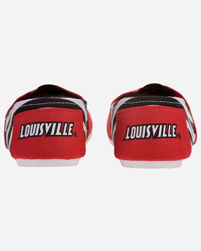 Louisville Cardinals Womens Stripe Canvas Shoe FOCO - FOCO.com