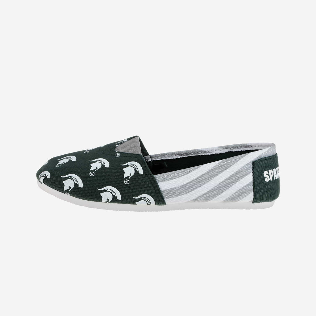 Michigan State Spartans Womens Canvas Stripe Shoe