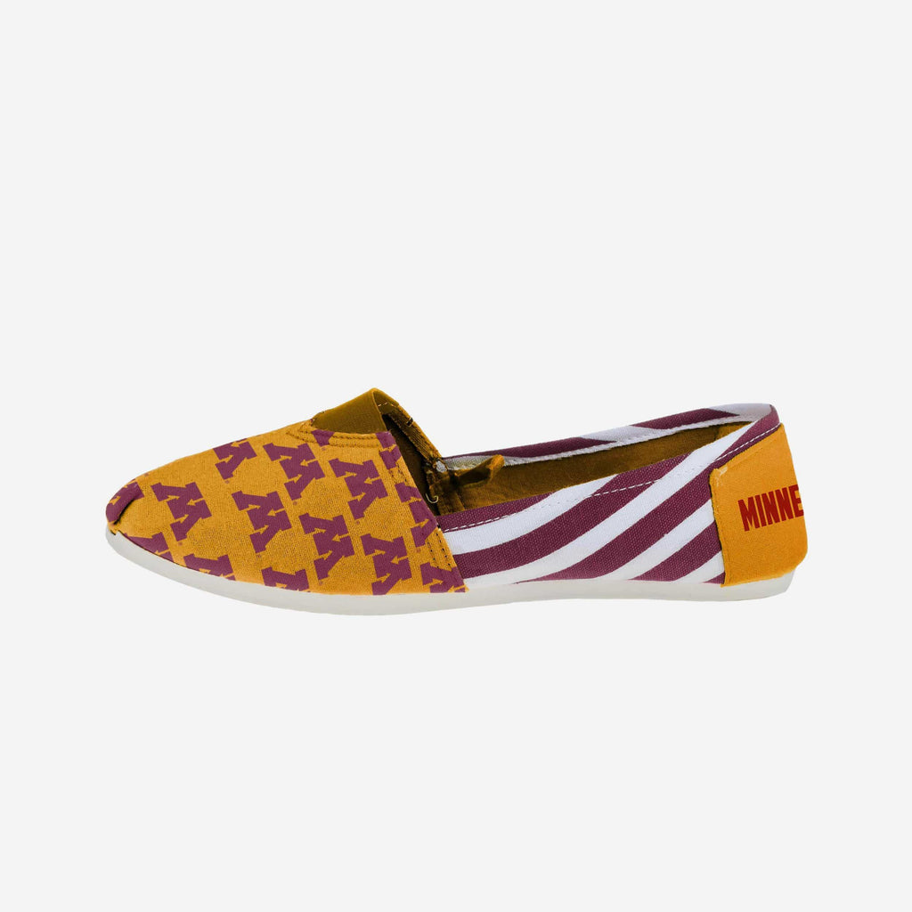 Minnesota Golden Gophers Womens Stripe Canvas Shoe FOCO - FOCO.com