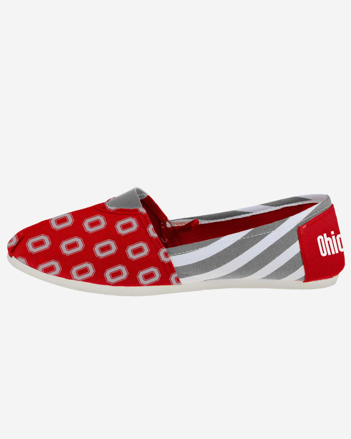 Ohio State Buckeyes Womens Stripe Canvas Shoe FOCO - FOCO.com