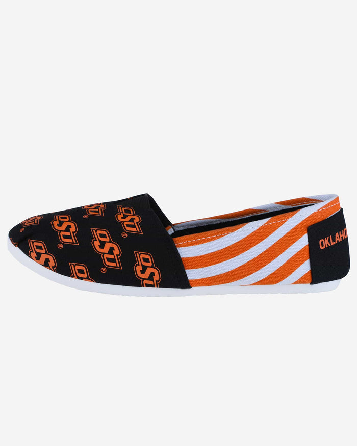 Oklahoma State Cowboys Womens Stripe Canvas Shoe FOCO - FOCO.com