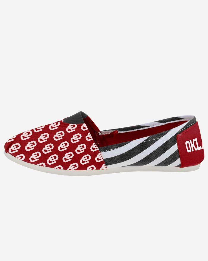 Oklahoma Sooners Womens Stripe Canvas Shoe FOCO - FOCO.com
