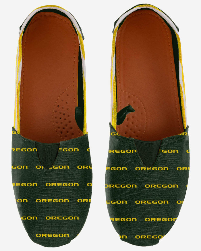 Oregon Ducks Womens Stripe Canvas Shoe FOCO - FOCO.com