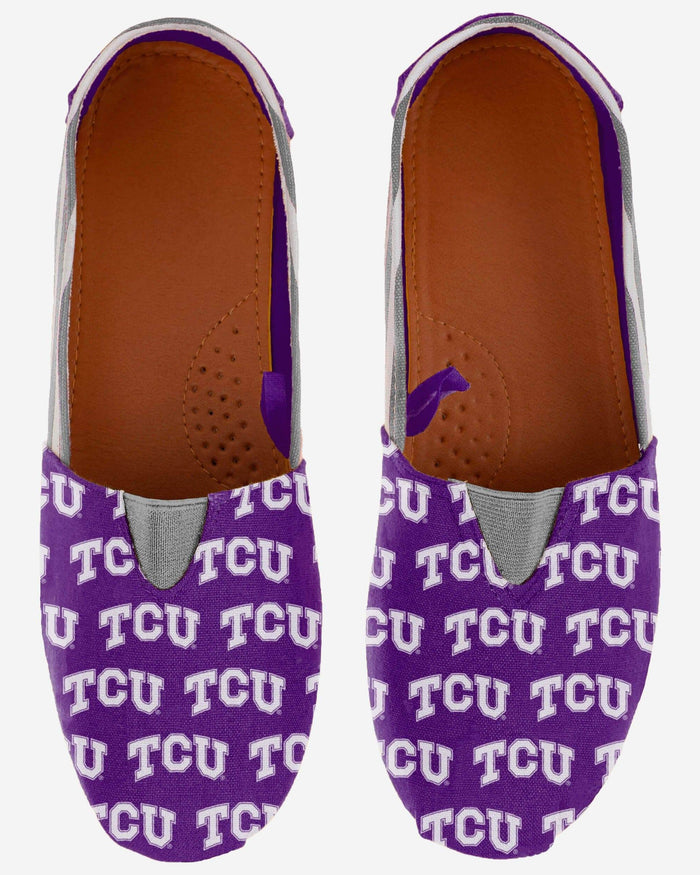 TCU Horned Frogs Womens Stripe Canvas Shoe FOCO - FOCO.com