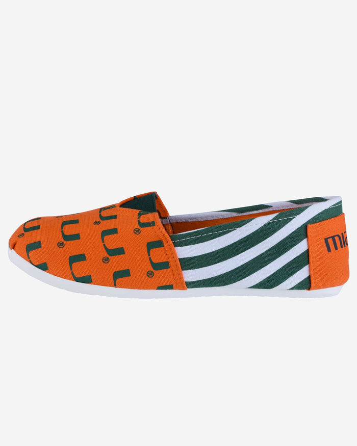 Miami Hurricanes Womens Stripe Canvas Shoe FOCO - FOCO.com