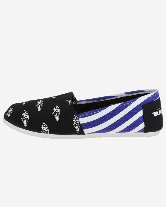 Baltimore Ravens Womens Stripe Canvas Shoe FOCO - FOCO.com