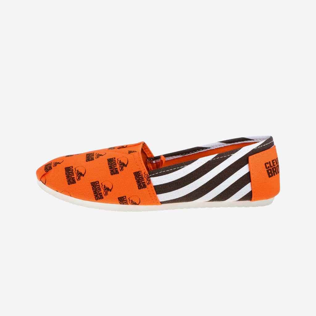 Cleveland Browns Womens Stripe Canvas Shoe FOCO - FOCO.com