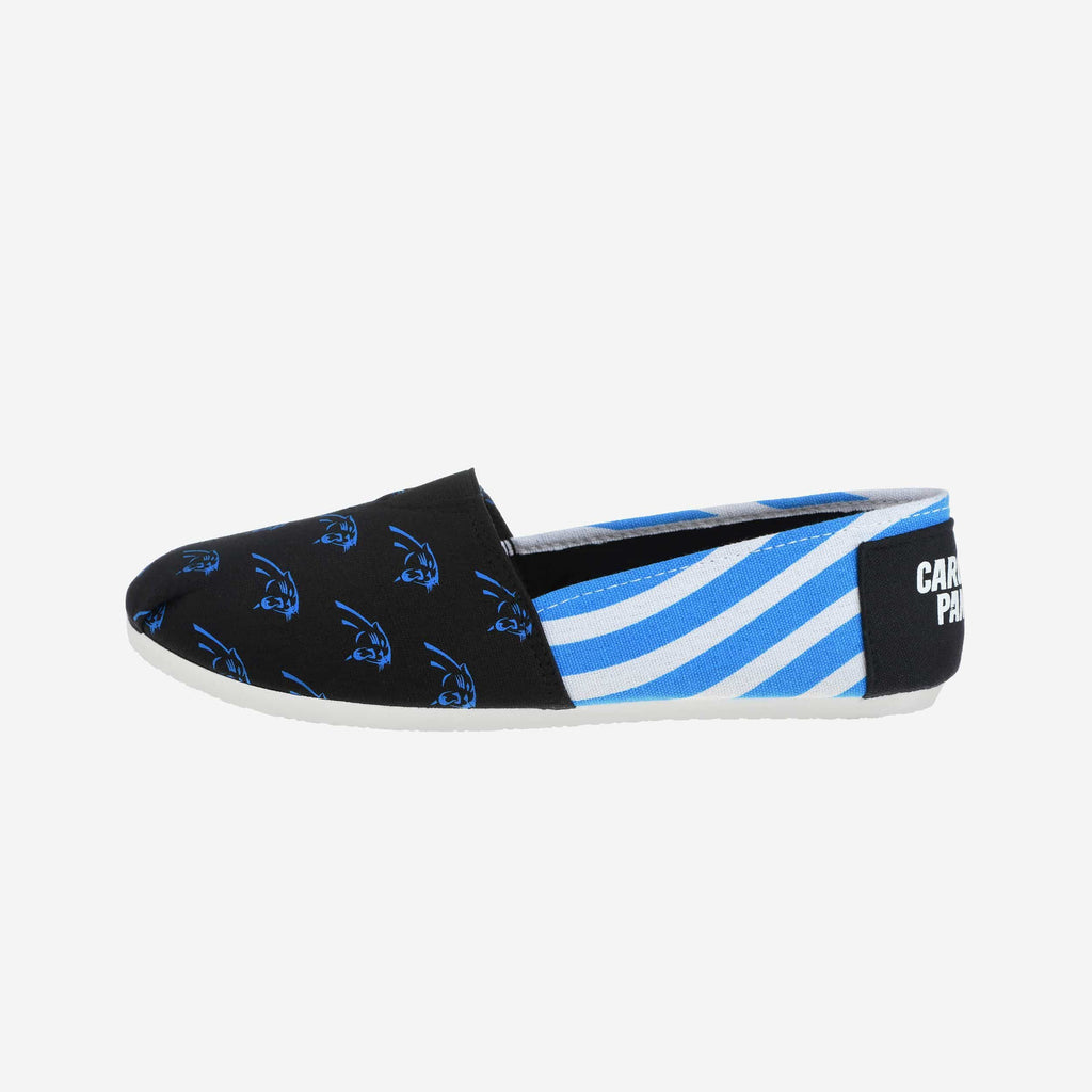 Carolina Panthers Womens Stripe Canvas Shoe FOCO - FOCO.com