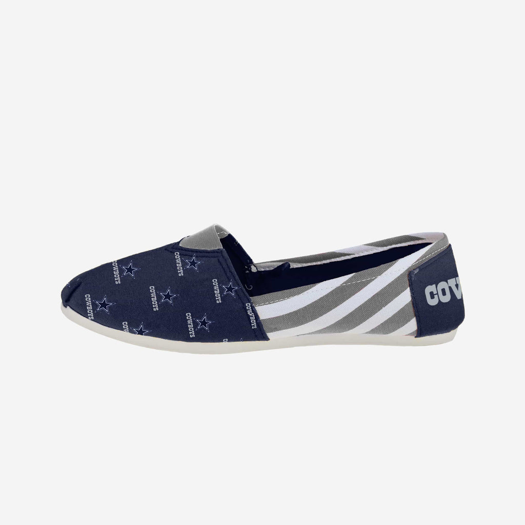 Dallas Cowboys Womens Stripe Canvas Shoe FOCO - FOCO.com