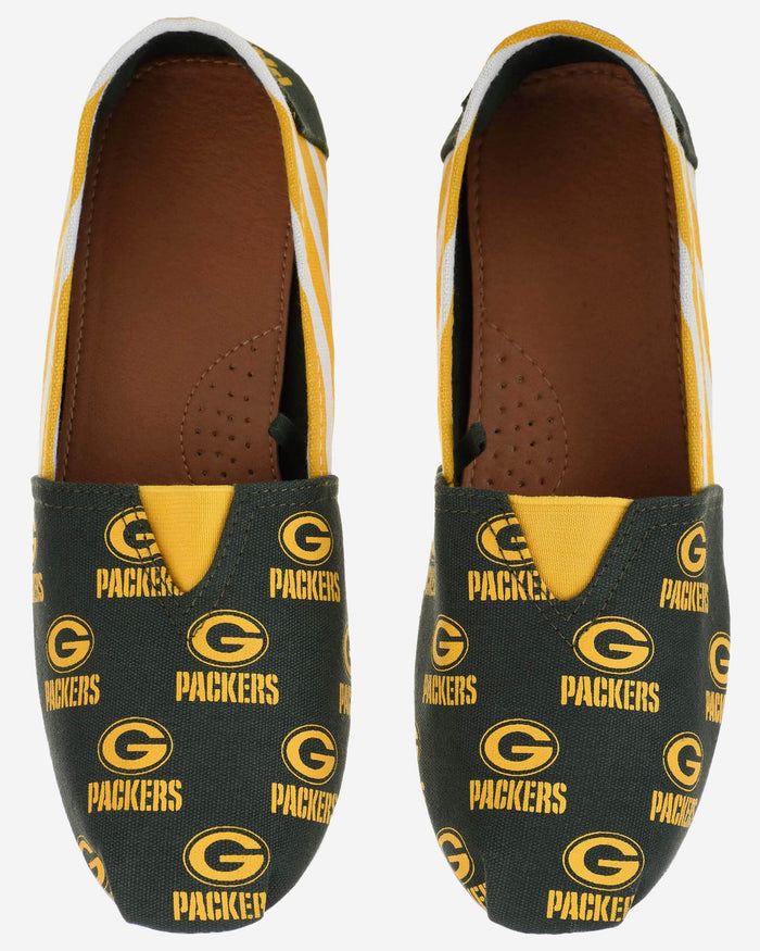 Green Bay Packers Womens Stripe Canvas Shoe FOCO - FOCO.com