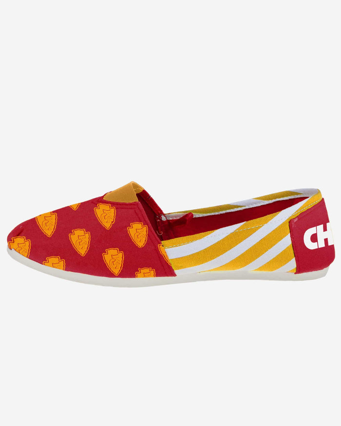 Kansas City Chiefs Womens Stripe Canvas Shoe FOCO - FOCO.com