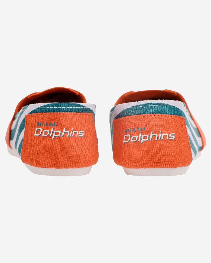 Miami Dolphins Womens Stripe Canvas Shoe FOCO - FOCO.com