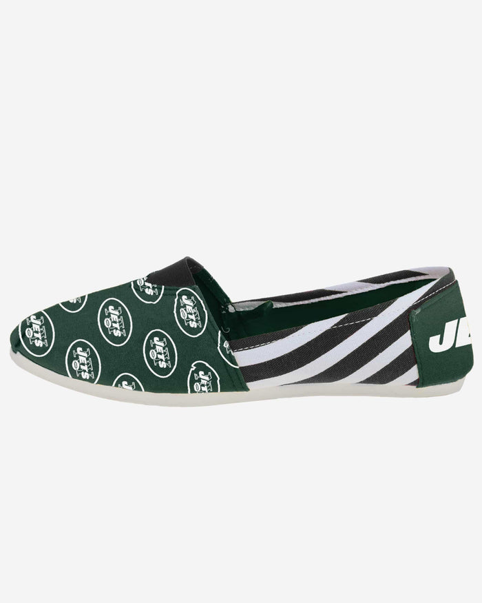 New York Jets Womens Stripe Canvas Shoe FOCO - FOCO.com