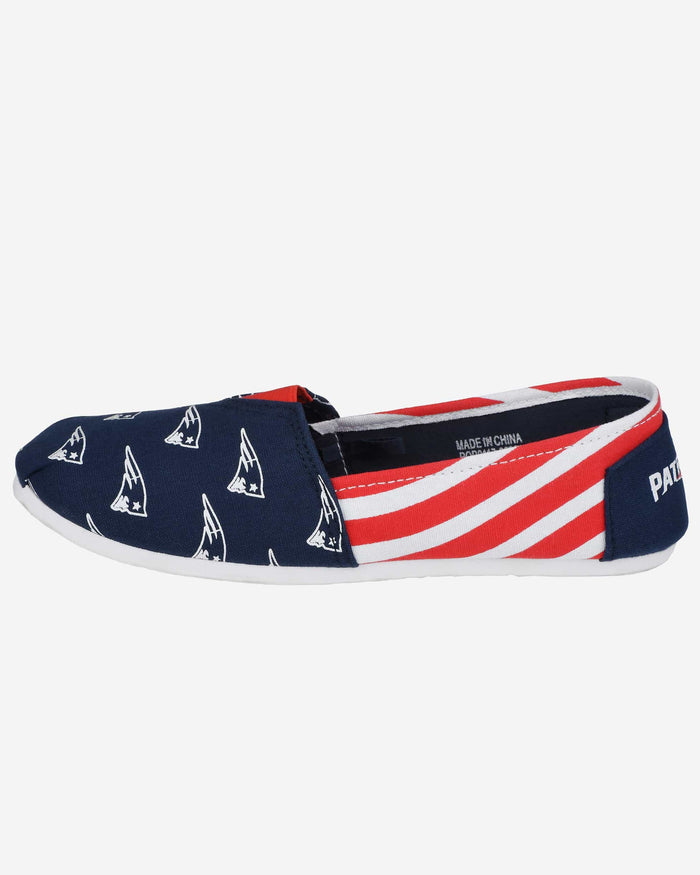 New England Patriots Womens Stripe Canvas Shoe FOCO - FOCO.com