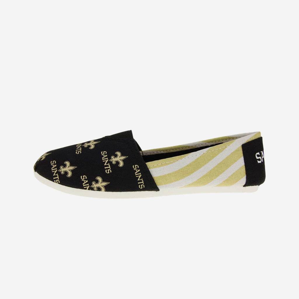 New Orleans Saints Womens Stripe Canvas Shoe FOCO - FOCO.com