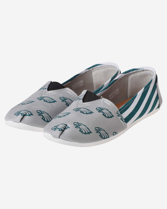 Philadelphia Eagles Womens Stripe Canvas Shoe FOCO - FOCO.com