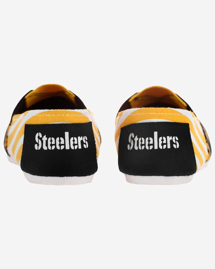 Pittsburgh Steelers Womens Stripe Canvas Shoe FOCO - FOCO.com