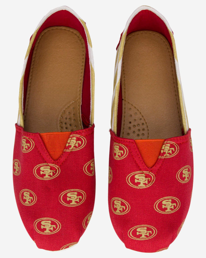 San Francisco 49ers Womens Stripe Canvas Shoe FOCO - FOCO.com