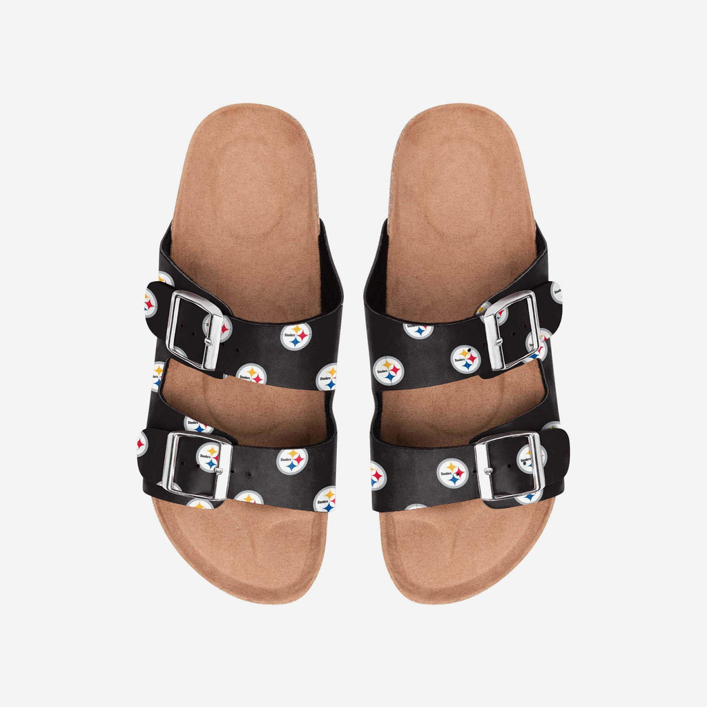 Pittsburgh Steelers Womens Team Logo Double Buckle Sandal FOCO S - FOCO.com