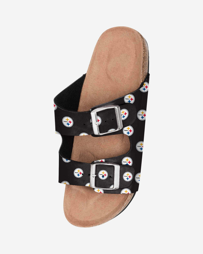 Pittsburgh Steelers Womens Team Logo Double Buckle Sandal FOCO - FOCO.com