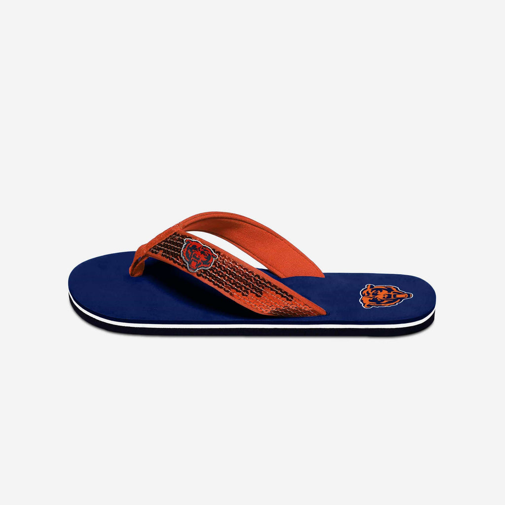 Chicago Bears Womens Sequin Flip Flop FOCO - FOCO.com