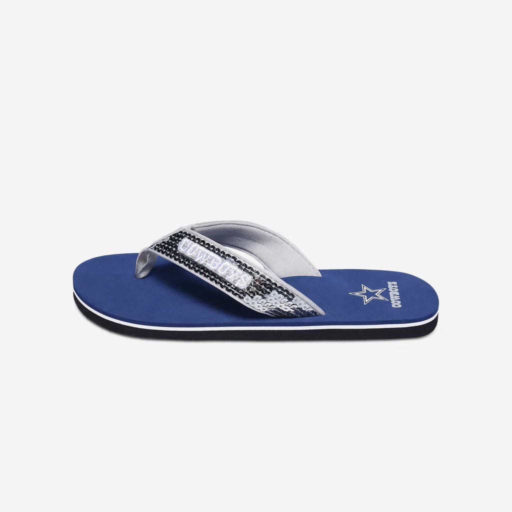 Dallas Cowboys Womens Sequin Flip Flop
