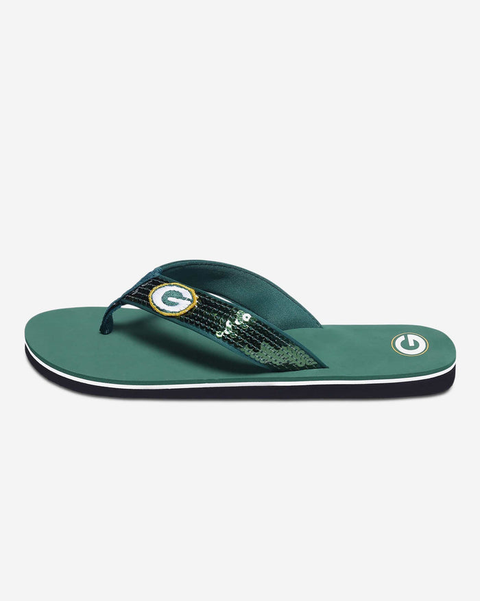 Green Bay Packers Womens Sequin Flip Flop FOCO - FOCO.com